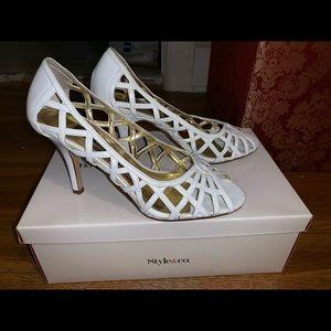 White peep toe shoes